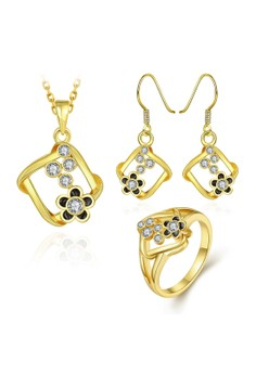 S472-A Plated Geometric Shape Necklace Ring Earrings Set Czech Drilling Flower Inlay Jewellery Set