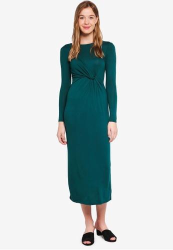 Dorothy Perkins 綠色 Petite Green Twist Maxi Dress 9BA94AAAA1CB27GS_1
