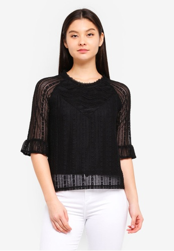 YOCO black Laced Textured Sheer Blouse E06F2AA0C8DA0BGS_1