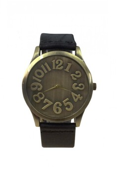Unisex Leather Watch with Big Number Dial Design
