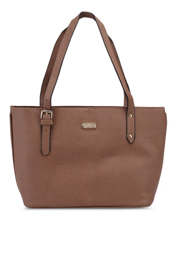 Unisa brown Saffiano Tote Bag F6D6AAC3772420GS_1