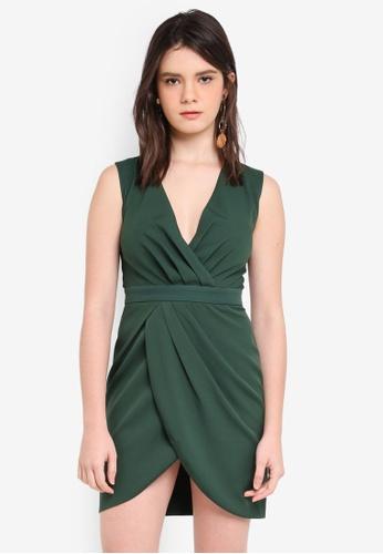 ZALORA green Wrap Pleated Dress EA6BCAA6996A39GS_1
