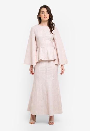 Zalia beige Lace Block Peplum Top with Mermaid Skirt 78BBAAA36B7970GS_1
