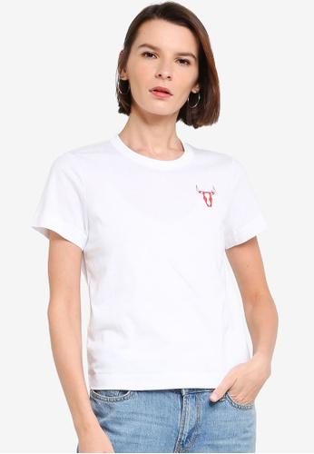 ck Calvin Klein white LIGHTWEIGHT ORGANIC COTTON TOP WITH LOGO 1A020AAB1F4C79GS_1
