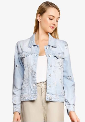 Desigual blue Embroidered Denim Jacket E3886AAA562C4EGS_1
