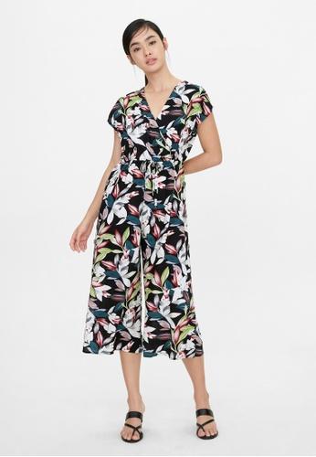 Pomelo black Bold Floral Tie Waist Jumpsuit - Black 0EF99AA05464B7GS_1