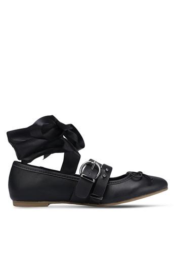 ZALORA black Lace Up Flats 16420ZZF21EE37GS_1