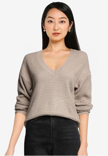 JACQUELINE DE YONG beige Alice V-Neck Knit Pullover 525E8AAA859DE3GS_1