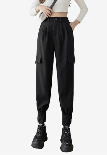 Zafiti black Women's Ankles-tied Cargo Pant - Black ADA79AA1DD56D9GS_1