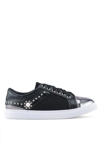 Something Borrowed black Studded Toe Cap Sneakers FF200SH4FECA34GS_1