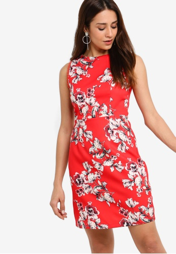 ZALORA red Round Neck Sheath Dress A05C1AA079AC80GS_1