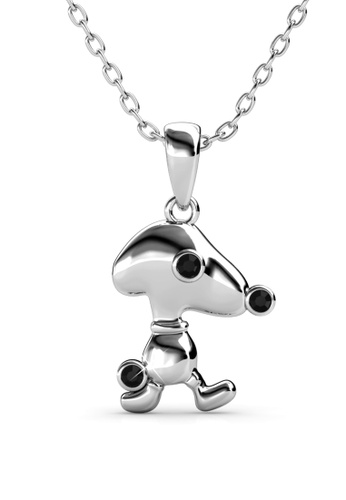Her Jewellery black and silver Pup Beagle Pendant (White Gold Black) -  Embellished with Crystals from Swarovski® 029DAAC208D93EGS_1