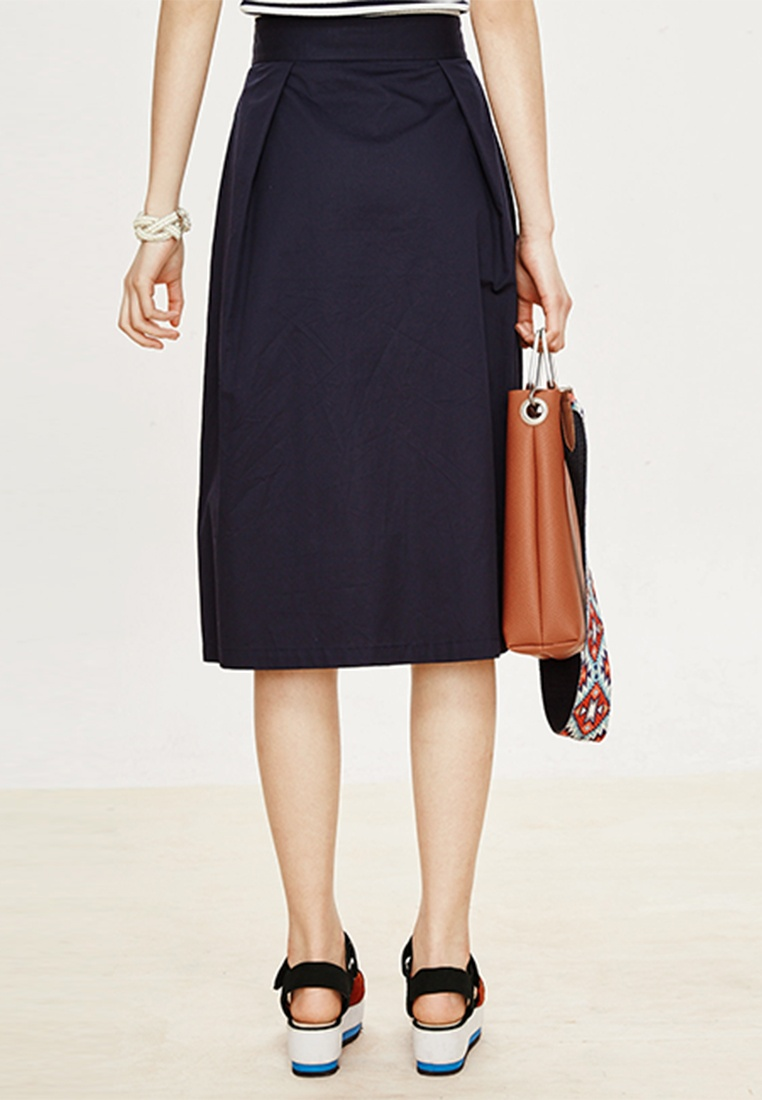 Blue Tie with Long Skirt Midi Hopeshow Belt Navy F0PwxIq