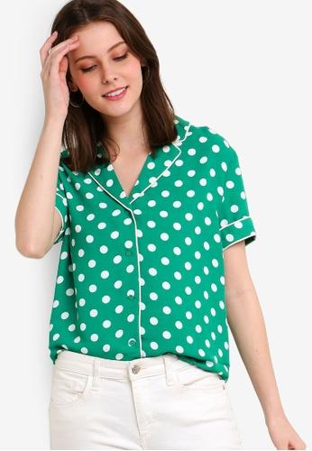 ZALORA 白色 and 綠色 印花襯衫 60F4BAA4C1BC12GS_1
