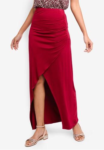 ZALORA BASICS red Basic Jersey Wrap Skirt 1F4BEAA69FAC0FGS_1