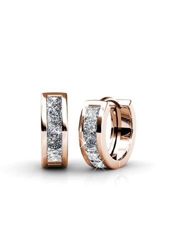 Her Jewellery Square Hoop Earrings (Rose Gold) - Made with premium grade crystals from Austria HE210AC0G1PWSG_1