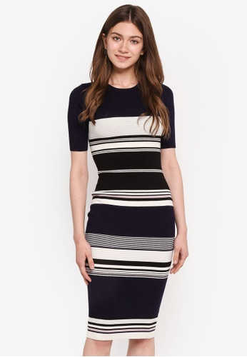 MDSCollections blue and navy Stripes Contrast Dress In Navy 47A63AAC8F47B6GS_1