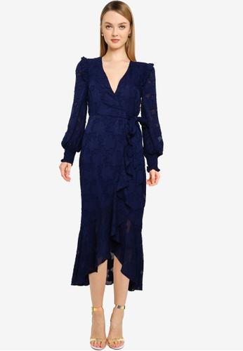 Little Mistress navy Navy Frill Wrap Dress 96867AAB03DA28GS_1