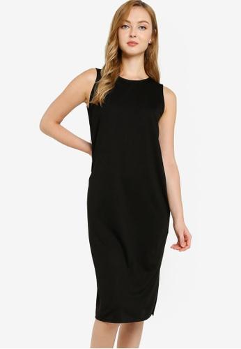 ZALORA WORK black Midi Sleeveless Shift Dress B7AD8AA9DAA2FEGS_1