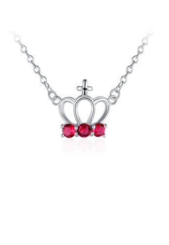 Glamorousky red Fashion Elegant Crown Necklace with Red Austrian Element Crystal FD9D5ACEA00DC8GS_1
