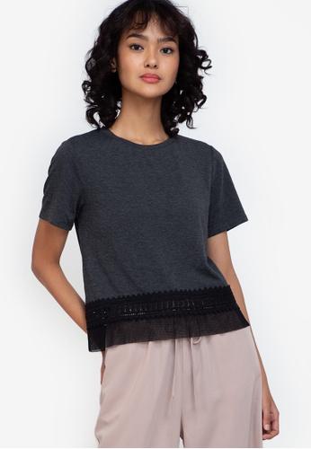 ZALORA BASICS grey Lace Hem T-Shirt FB1A5AA90E35C6GS_1