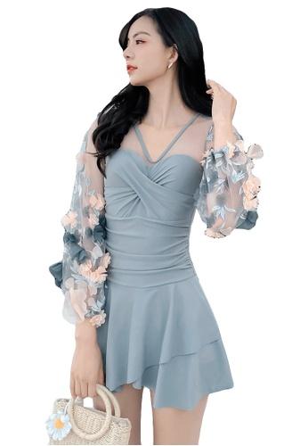 A-IN GIRLS grey Elegant Gauze Flower One-Piece Swimsuit D25DAUSBF590DFGS_1