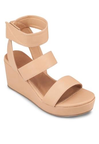 Helena 三帶楔型厚底涼鞋, 女鞋zalora鞋, 楔形涼鞋