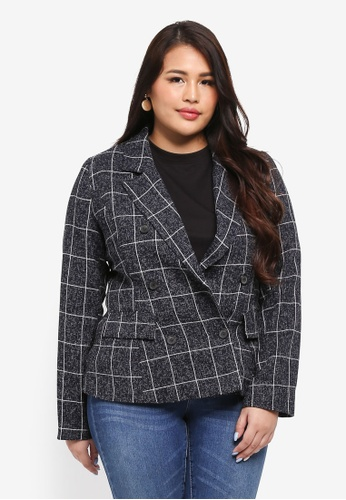 MISSGUIDED navy Plus Size Navy Checked Jacket 3D240AAC3475B6GS_1