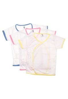 555-0 Tieside White Short Sleeves Baby Dress (Set of 3)