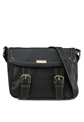 Unisa black Saffiano Effect Sling Bag With Flap Over Closure UN821AC28DTFMY_1