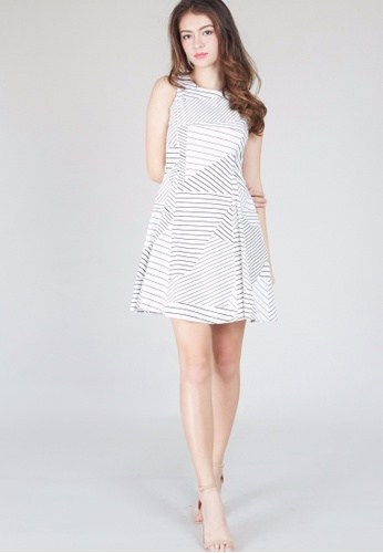 Moss Fashion black and white Geometry Line Dress in White MO819AA0GY8ISG_1