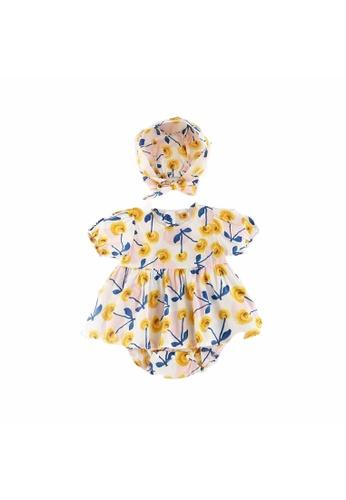 Little Kooma yellow Baby Girl Cherry Bodysuit Dress n Hat 2pc Set Yellow 3B4A7KA6E5893EGS_1