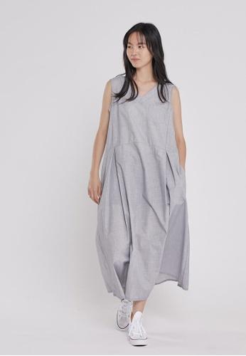 so that's me grey Holly V neck Sleeveless Tank Long Dress with Pockets Rock Grey 75467AA95A5299GS_1