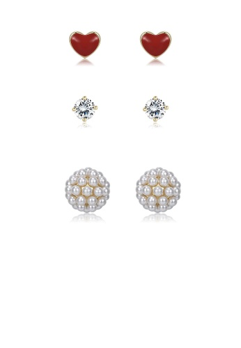 Glamorousky white 925 Sterling Silver Plated Gold Simple Romantic Heart Flower Three-piece Earrings with Cubic Zircon and Pearls 1104BAC815692EGS_1