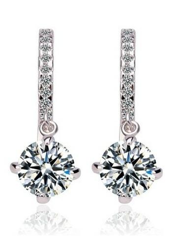 Vivere Rosse silver Vivere Rosse Lovely Diamond Simulant Link Earrings VI014AC85ZWCMY_1