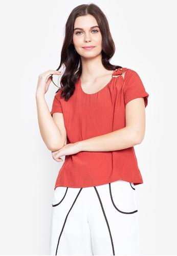 Plains & Prints red Red Currant Quain Short Sleeves Top 76E01AA63A0262GS_1