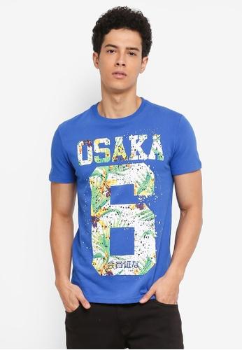 Superdry blue Osaka Hibiscus Infill Tee CD0C9AA74314AFGS_1