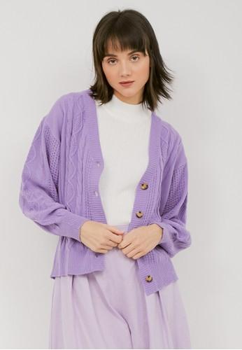 NOA EVERYDAY lilac purple Cardigan Rajut Mari - Lilac 69788AA290C1C5GS_1