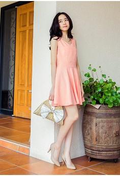 [OB] Stitch Patterned Sleeveless Flare Dress