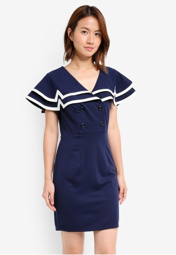 ZALORA navy Bodycon Ruffle Collar Dress 39705AABAF2711GS_1