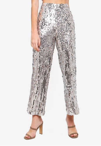 Miss Selfridge silver Petite Silver Sequin Trousers 9DF41AA8465C8AGS_1