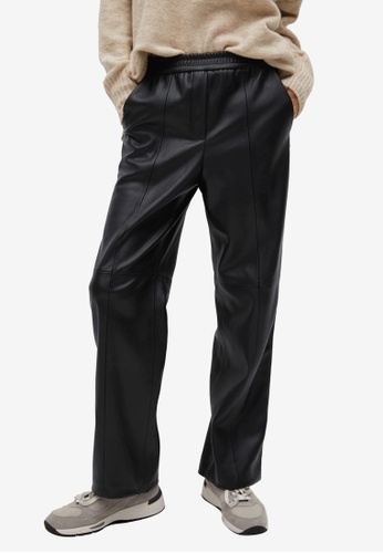 Mango black Leather-Effect Straight Trousers B1FACAA2D3D932GS_1