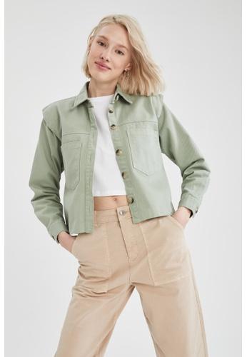 DeFacto green Long Sleeve Shirt Jacket 4DBC8AA6619E46GS_1