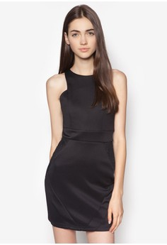 Cut In Mesh Panel Fitted Dress