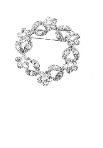 Glamorousky silver Elegant Flower Brooch with Silver Austrian Element Crystal 9DD85AC3D8FDBAGS_1