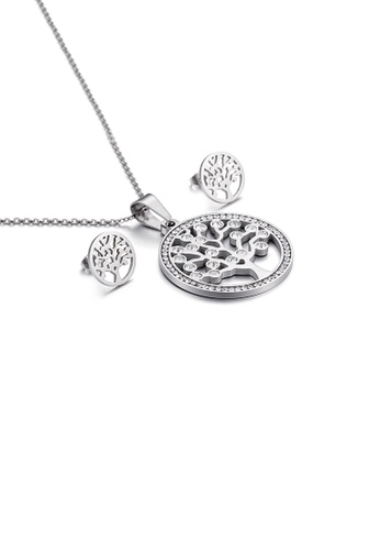 Glamorousky white Fashion Simple Wishing Tree Geometric Round 316L Stainless Steel Necklace and Stud Earring Set with Cubic Zirconia 6CEF4ACD834162GS_1
