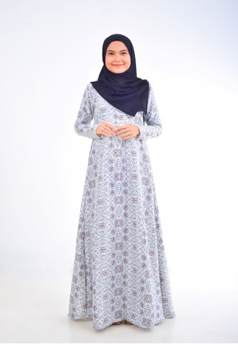 Assie Modesty grey and white and silver Fabulous A-Cut Dress (With Gemstone) 0F2B0AA42B2753GS_1