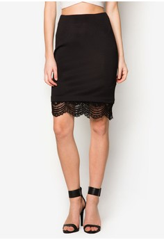 Collection Lace Hem Pencil Skirt