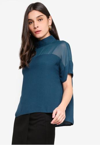 ZALORA 藍色 高領上衣 63588AA72EA35CGS_1