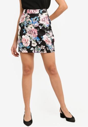 ZALORA black and multi High Waisted Short Skirt 2488EAA387CB22GS_1